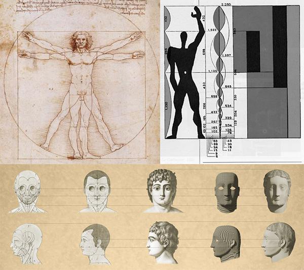 "Top left - Leonardo Da Vinci, ""Vitruvian Man"" (c. 1490), Top right - Le Corbusier, ""Modulor Man"" (1945), Bottom - Jean-Jacques Leqeu, ""Geometry of the Face"" (1792)"